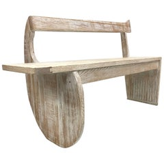 French Cerused Oak Bench Style of Rene Gabriel