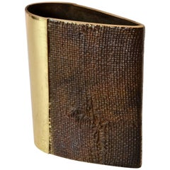 Brutalist Bronze Cast Vase by Saviato in Teardrop Shape with Textural Finish