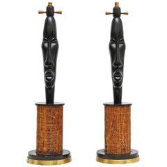 Vintage Tiki Style Hollywood Regency Brass Lamps