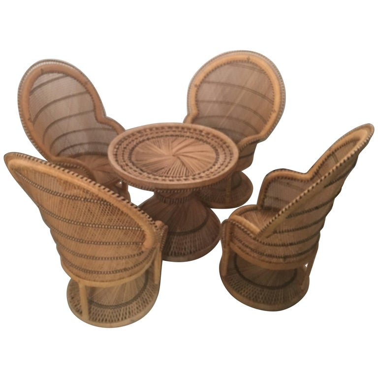 Rattan Wicker Children's Dining Table and Chair Set