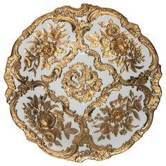 Antique Meissen Porcelain Gold and White Plate, Germany