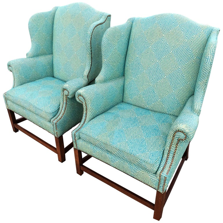 Pair Of Henredon Wing Back Chairs For Sale At 1stdibs