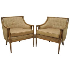 Pair of Mid-Century Modern Barrel Back Wood Lounge Club Chairs Paul McCobb Style