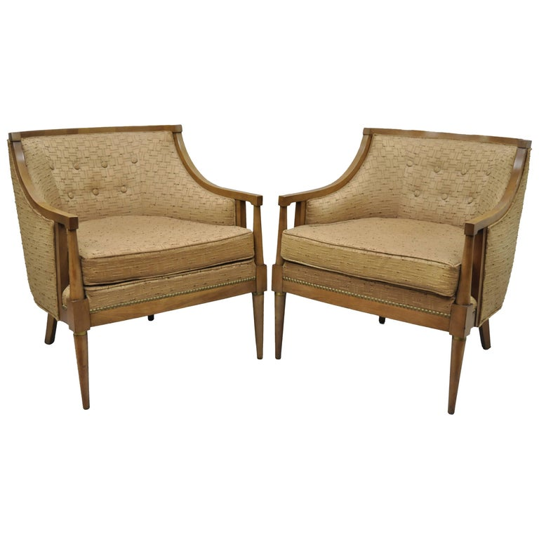 Pair of Mid-Century Modern Barrel Back Wood Lounge Club Chairs Paul McCobb Style