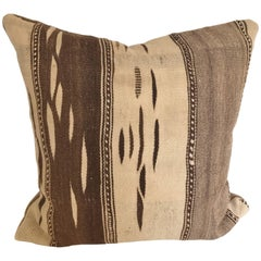 Custom Moroccan Pillow Cut from a Vintage Hand Loomed Wool Ourika Kilim Rug