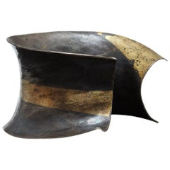 Pat Flynn Hand-Forged Blackened Iron and Gold Cuff