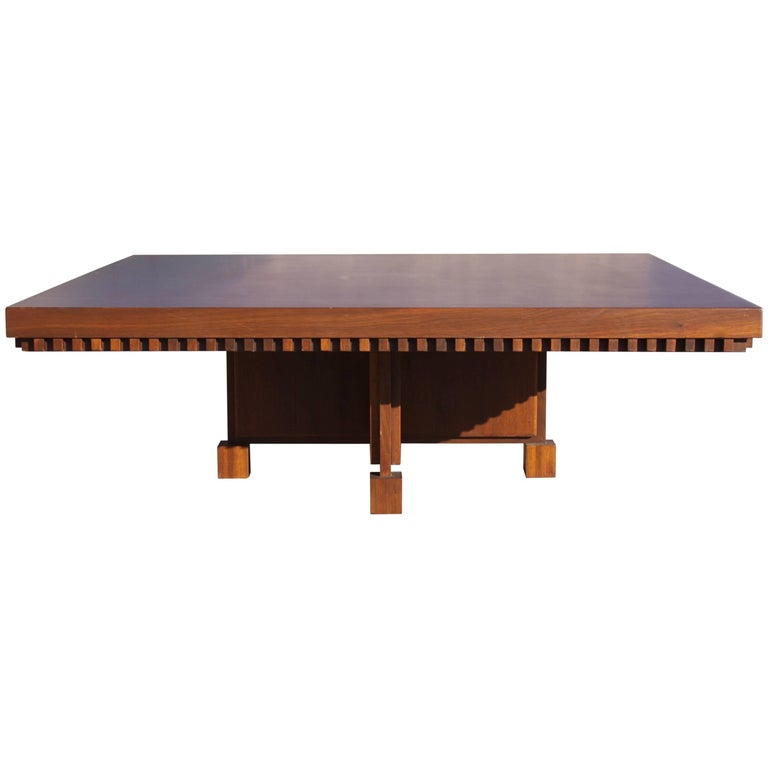Architect Fred M. Kemp Custom Coffee Table in the style of Frank Lloyd Wright For Sale
