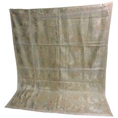 18th Century Italian Lampas Cloth with Silver Antique Trim