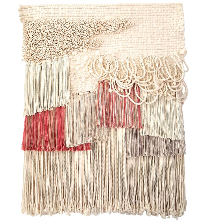 Hand Woven Wall Hanging Pink and Cream by All Roads