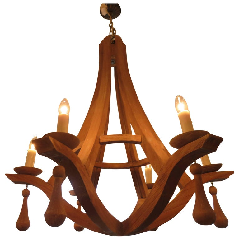 Six-Light Gothic Form Reclaimed Wood Chandelier  For Sale