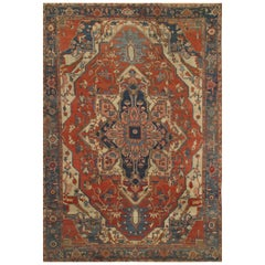 Antique Persian Serapi Oriental Carpet with Medallion and Soft Colors, Room Size