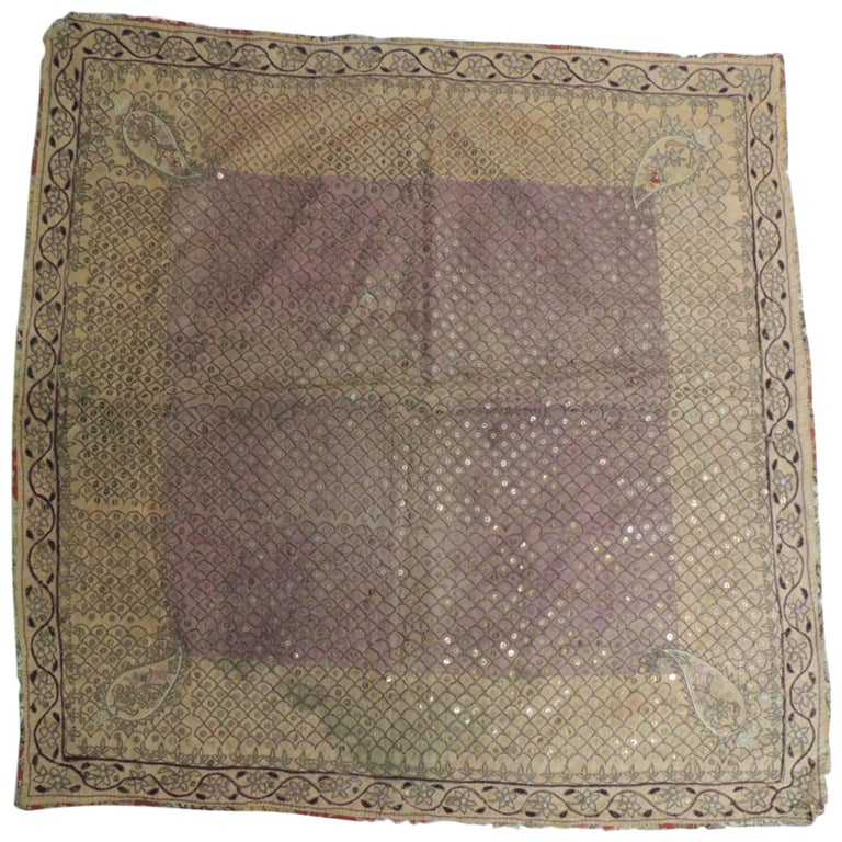 19th Century Indian Embroidery Textile with Brass Sequins Details For Sale