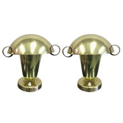 Pair of Italian Mid-Century Modern Neoclassical Brass Table Lamps, Fontana Arte