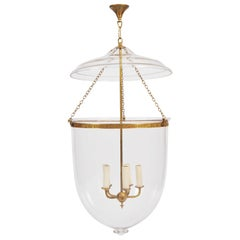 Large Clear Glass Storm Lantern with Brass Fittings