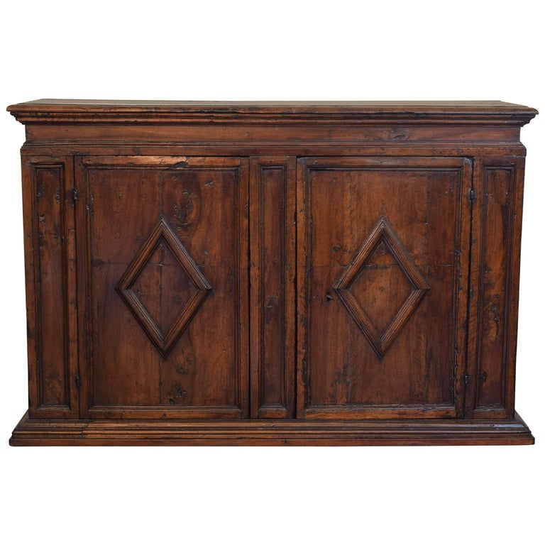 Italian Baroque Walnut Two-Door Credenza, Lozenge Panels, Mid-17th Century