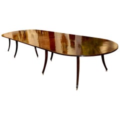 Custom Mid-Century Modern Mahogany Dining Table in Regency Style