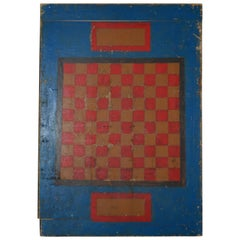 Folk Art Hand-Painted Checkerboard on Kitchen Breadboard