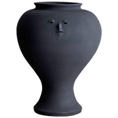 Charcoal Black Ceramic Large Vase with Head 02