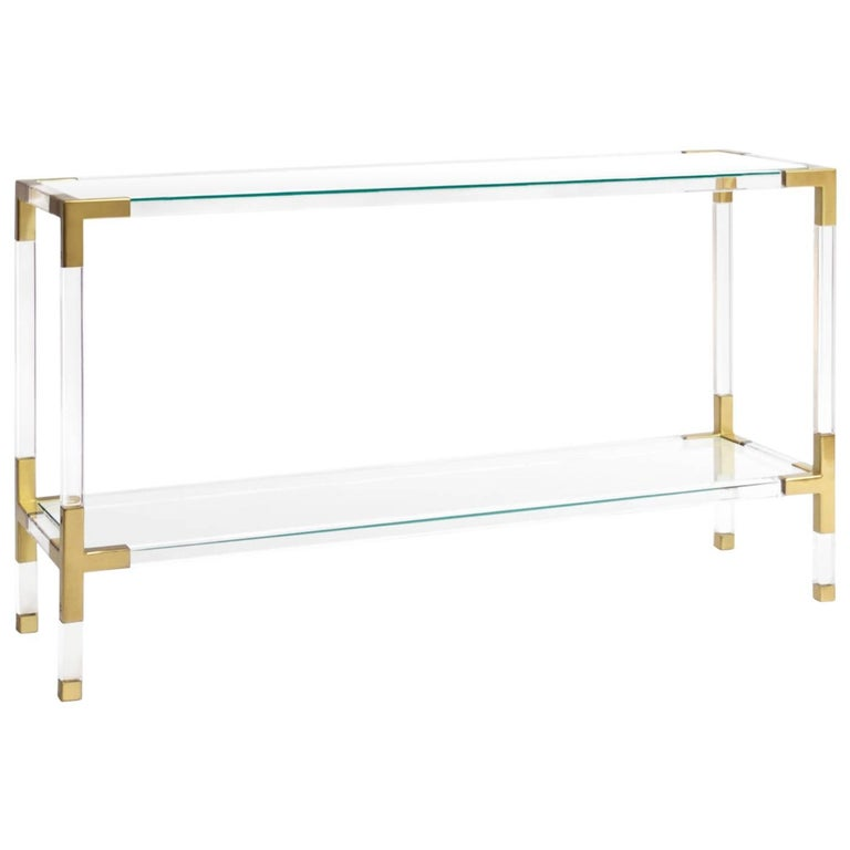 Jacques Acrylic and Brass Console by Jonathan Adler For Sale