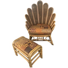 Rattan and Wicker Peacock Fanback Lounge Club Chair with Ottoman