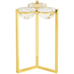 Globo Drinks Acrylic and Polished Brass Side Table by Jonathan Adler