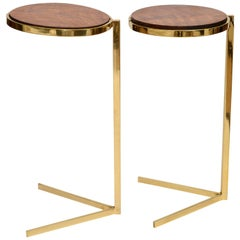 Personal Brass with Wooden Top Side Tables