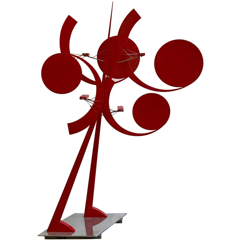 """Big Red Roadrunner"" Monumental Kinetic Sculpture by Jerome Kirk, 1974 For Sale"