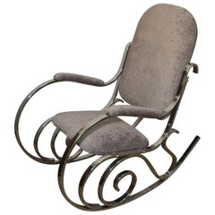 Maison Jansen Chrome Upholstered Rocking Chair