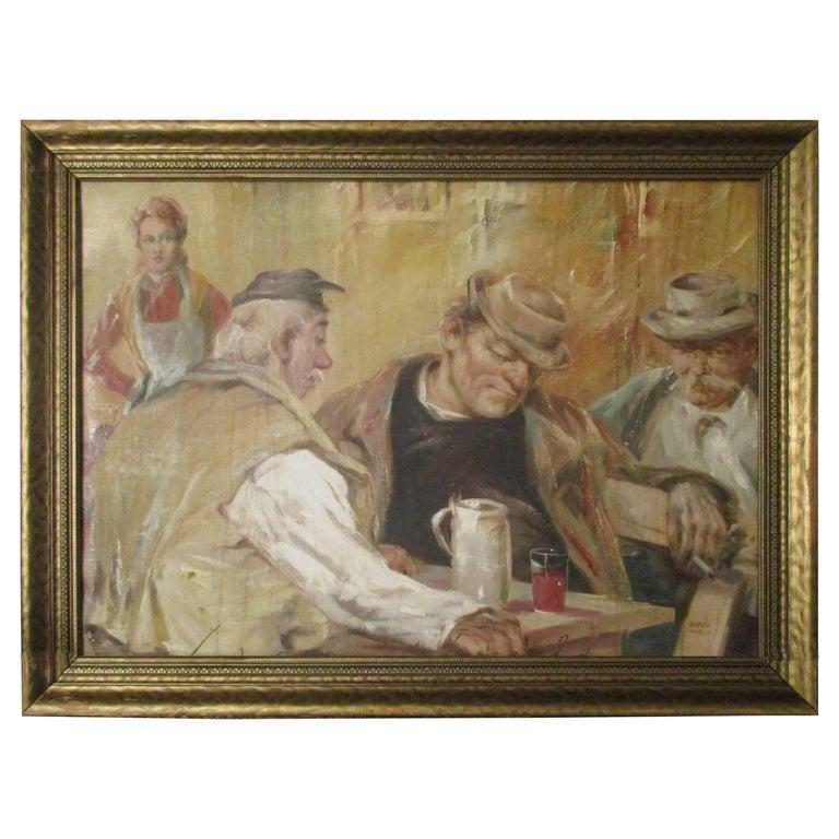 James Carlin Oil on Canvas Bar Scene