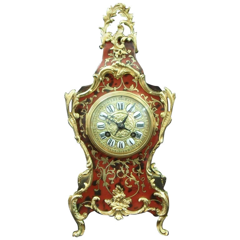 French, 19th Century Boulle Mantel Clock in the Louis XV Style
