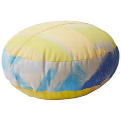 Hand-Painted Cotton Canvas Circular Sherbert Ottoman