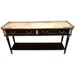 Maison Jansen Style Ebonized Bronze-Mounted Marble-Top Console or TV Stand