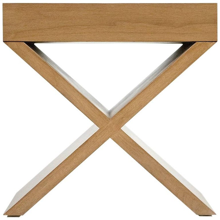 Saint Croix Nightstands with X-Base and Crafted in Rift Oak by Aguirre Design