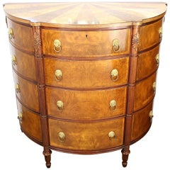 Demilune Commode in Wood with Lion's Head Ormlou Mounts