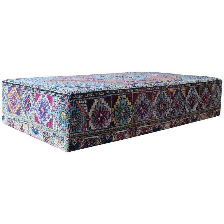 Custom Made Ottoman Upholstered In A Vintage Turkish Rug At 1stdibs
