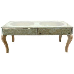 Mirrored Glass Coffee Table with Vignetted Shadow Box Effect