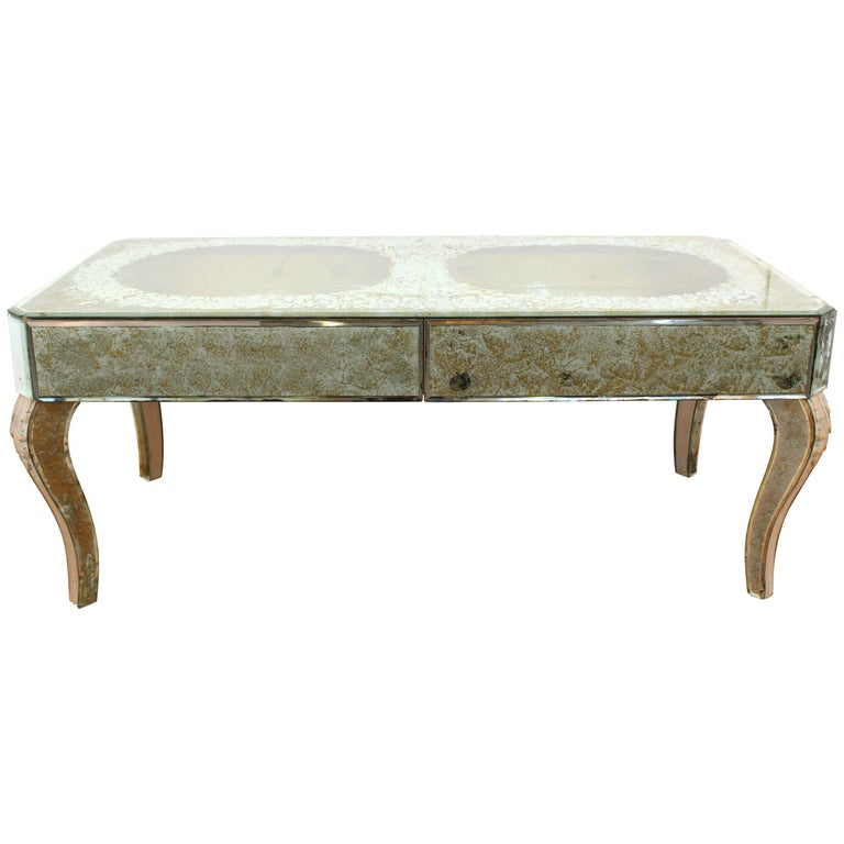 Mirrored Glass Coffee Table With Vignetted Shadow Box Effect For Sale At 1stdibs