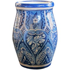 Mexican Hand-Thrown Blue and White Glazed Barrel-Form Pot from Talavera Vazquez