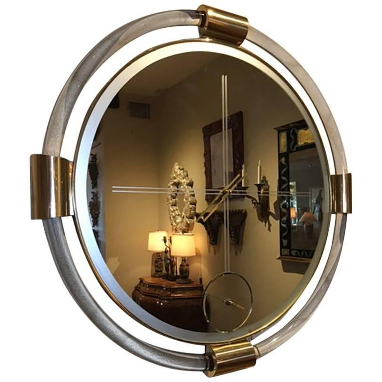 Mid-Century Modern Lucite and Brass Clock with Mirror