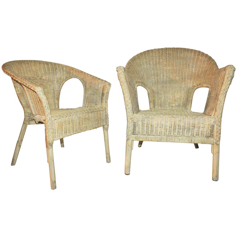 Bar Harbor Painted Wicker Chairs/Pair 1