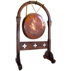 Large Antique Victorian Aesthetic Movement Oak Dinner Gong