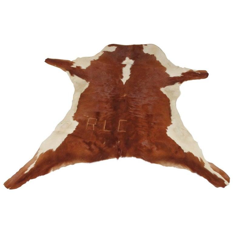 "Western Branded ""RLC"" Calf Skin Rug For Sale"