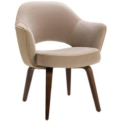 Saarinen Executive Armchair with Walnut Legs in Mohair and Leather Piping