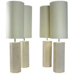 Set of Four Lamps in Travertine Marble, circa 1940
