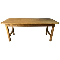 Antique Applewood Farmhouse Table with Centre Stretcher, circa 1840
