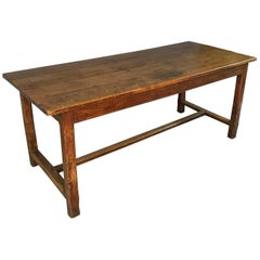 Beautiful Oak Refectory Antique Table with Stretcher, circa 1840