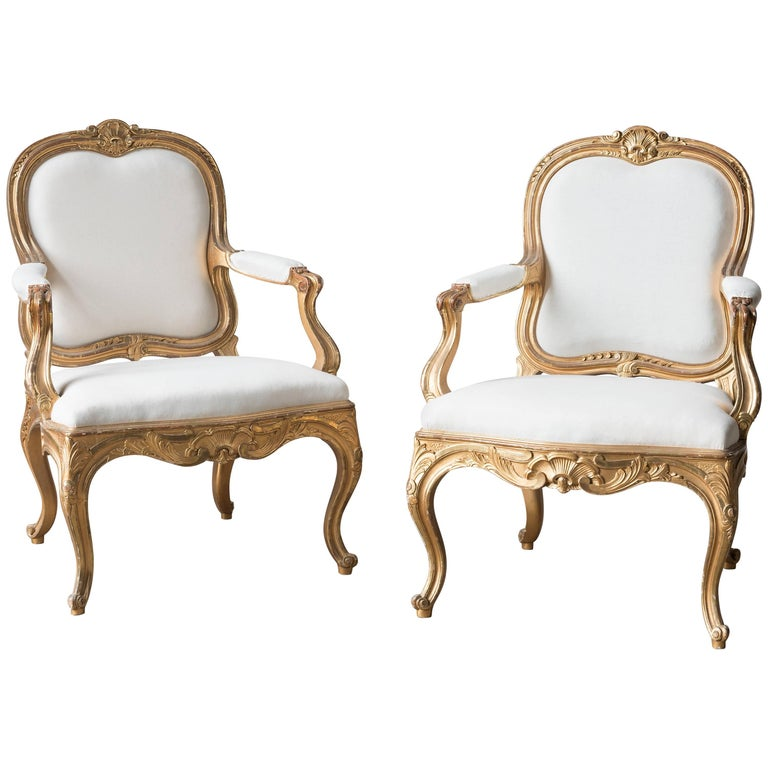Pair of Swedish 19th Century Gilded Armchairs For Sale