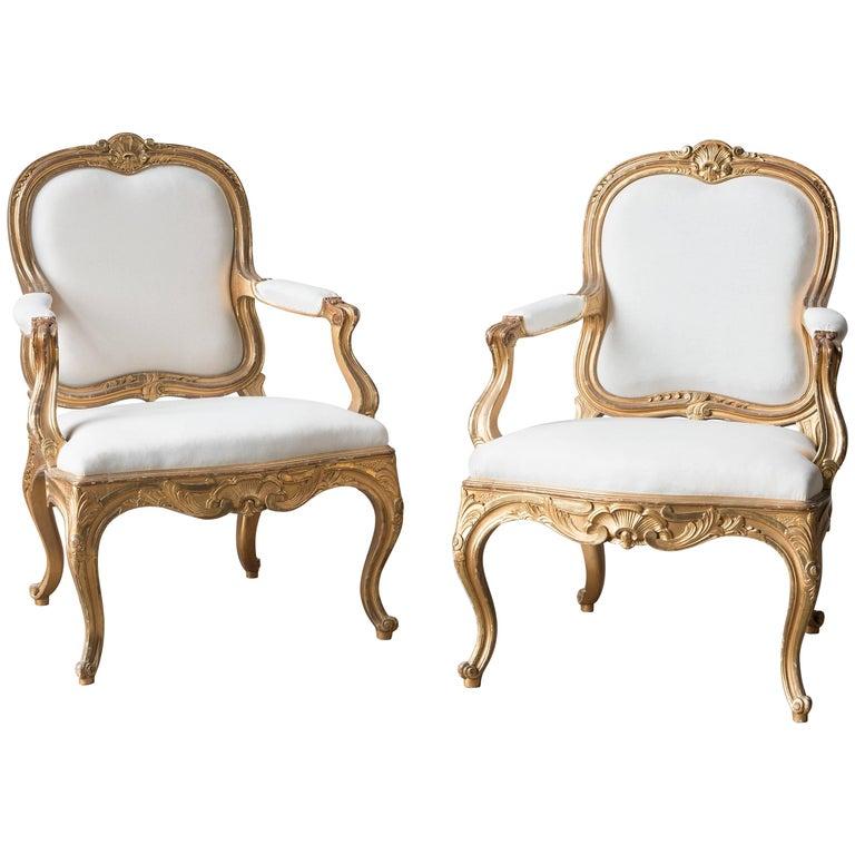 Pair of Swedish 19th Century Gilded Armchairs