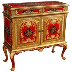 Red Gold Lacquered Italian Sideboard in Wood, 20th Century