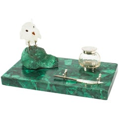 Antique Malachite & Crystal Owl Rectangular Ink Desk Set, circa 1920
